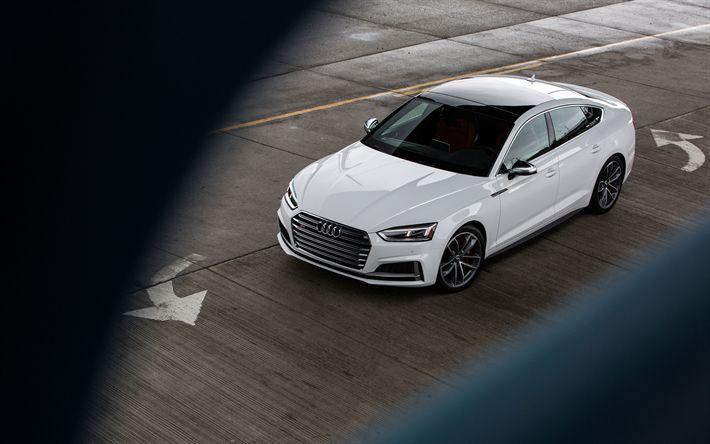 Descargar fondos de pantalla 4k, Audi S5 Sportback, los coches alemanes, 2018 coches, blanco s5, Audi