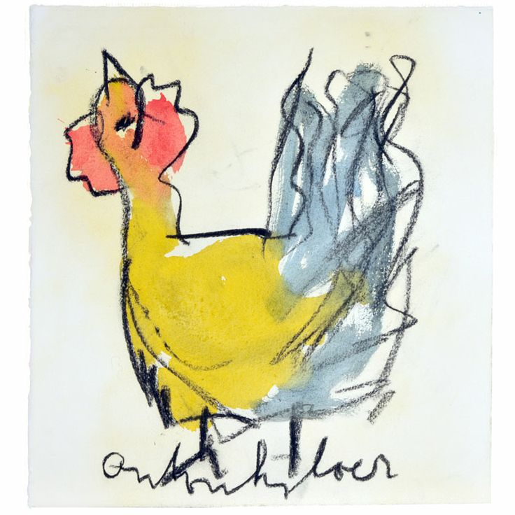 Anton Heyboer Chicken | From a unique collection of antique and modern drawings at http://www.1stdibs.com/furniture/wall-decorations/drawings/