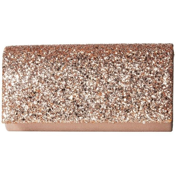 Jessica McClintock Chloe Glitter Flap Clutch (Rose Gold) found on Polyvore featuring bags, handbags, clutches, rose gold handbag, faux-leather handbags, flap handbags, brown purse and jessica mcclintock