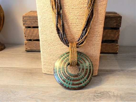 Ladies Beaded Multi Strand Necklace with Large Circular Wooden