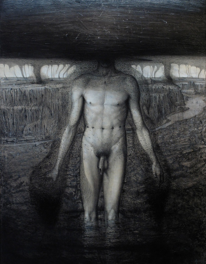 Apparition   mixed media on linene on wood   121 x 93 cm