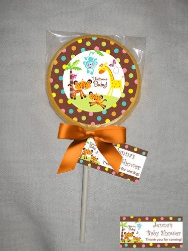 Fisher Price Safari Personalized Baby Shower Chocolate Lollipop Or Cookie  Favor | Chocolate Lollipops, Cookie Favors And Babies