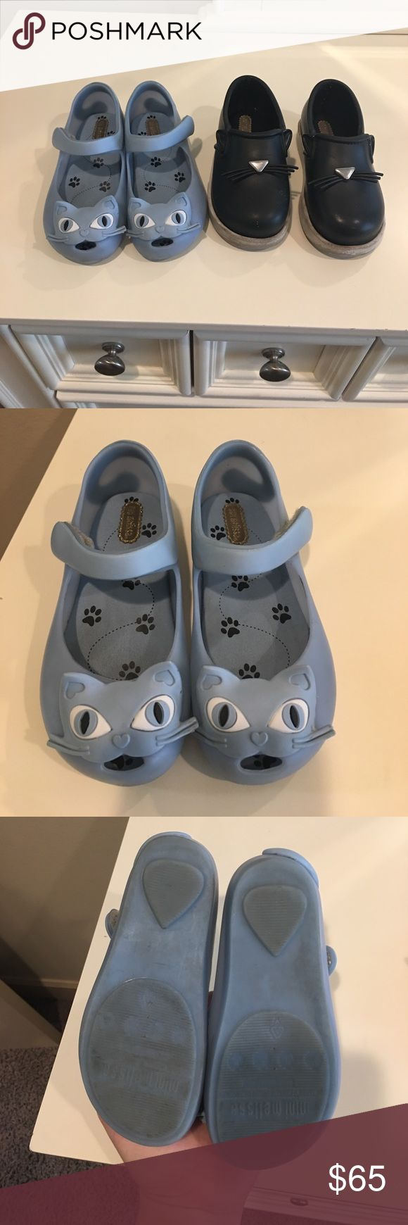 MINI MELISSA BUNDLE! Selling mini mellisa shoes as as a set! Blue ones are size 10 and the black are a size 9. Used but still have a lot of life in them!! Flaws shoes in photos comes from smoke free and pet free home! Mini Melissa Shoes