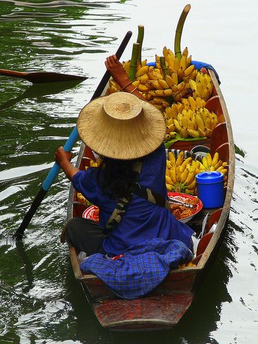 Banana Boat At Floating Market In Thailand (by Butch Osborne)