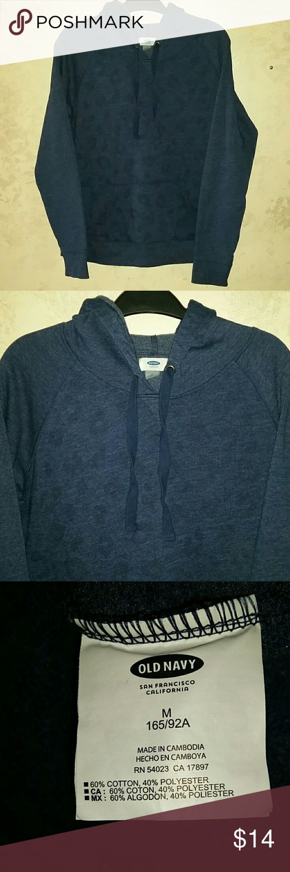 M nwt old navy blue animal print hoodie sweatshirt Old Navy blue hooded sweatshirt Cute Faint animal print on the front New with tags  Medium Old Navy Tops Sweatshirts & Hoodies