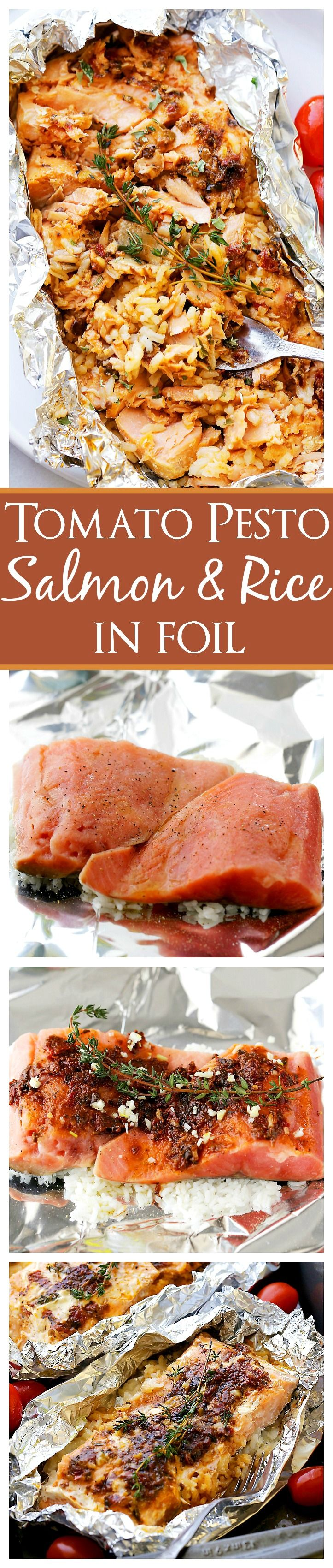 Tomato Pesto Salmon And Rice Recipe Baked In Foil