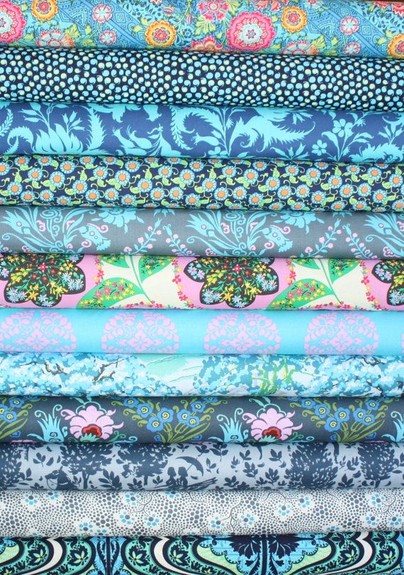 Beautiful Blue Fabric bundle by Amy Butler for Free Spirit Fabrics- Yard Bundle, 12 total