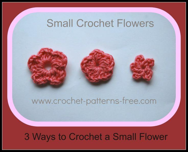 3 Small Crochet Flower Free  Patterns