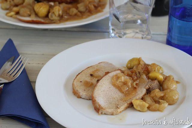 la cocina de aficionado: Lomo de cerdo con uvas y castañas
