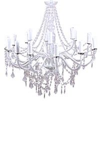 12 ARM ACRYLIC BEADED METAL CHANDELIER