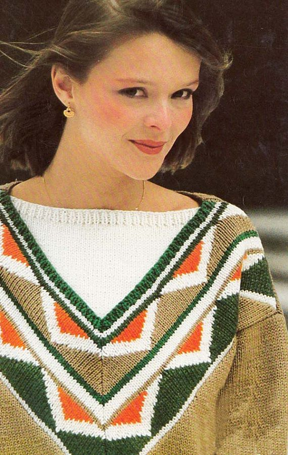 Fab 1980s PATTERN to knit a bright vibrant sweater with geometric African/tribal influence, V neck & white insert. Boyfriend fit, drop shoulder, boxy 80s shape.  ♥♥♥♥♥♥♥♥♥♥♥♥♥♥♥♥♥♥♥♥♥♥♥♥♥♥♥♥♥♥♥♥♥♥♥♥♥♥♥♥♥♥♥♥♥♥♥♥♥♥♥♥♥♥♥♥♥ PLEASE NOTE THIS IS A PDF PATTERN - NOT THE FINISHED SWEATER OR THE ORIGINAL PATTERN ♥♥♥♥♥♥♥♥♥♥♥♥♥♥♥♥♥♥♥♥♥♥♥♥♥♥♥♥♥♥♥♥♥♥♥♥♥♥♥♥♥♥♥♥♥♥♥♥♥♥♥♥♥♥♥♥♥  ♥♥♥Love this item? Dont forget to add it to your favourites♥♥♥  Quick to knit in 4 colours with sport weight yarn (4 ply in...