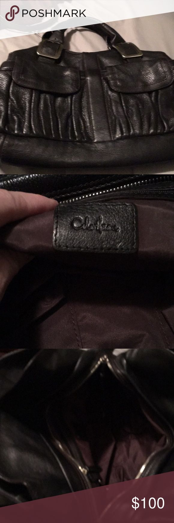 COLE HAAN a very nice leather bag This is a large Cole haan purse that has 3 compartments and 2 pockets on front and A zippered pocket and 2 regular pockets Inside. Nice leather purse is in excellent shape! cole haan Bags Satchels