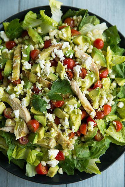 Salad with Grilled Chicken, Avocado & Tomato with Honey-Lime, Cilantro Vinaigrette.