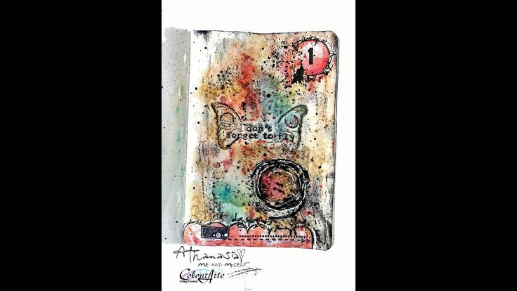Mini art journal page - how to create mixed media background