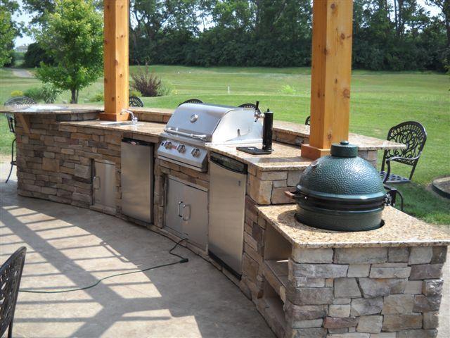 Picture of Brick Big Green Egg Outdoor Kitchen Design