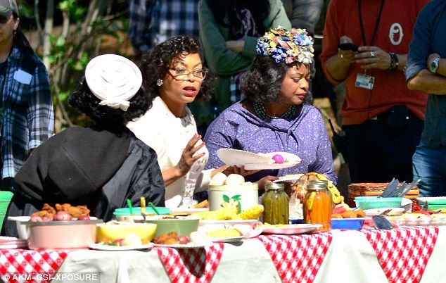 "These girls on the set of the ""Hidden Figures"" movie makes me want to wear my grandma's clothes to go on a picnic! Haha #HiddenFigures #FemaleMathematicians #JanelleMonae #OctaviaSpencer #TarajiHenson"