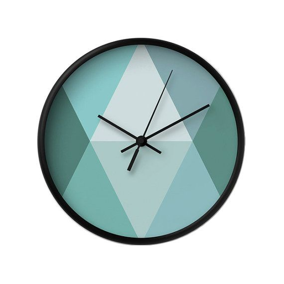 Teal wall clock Geometric wall clock Housewarming by LatteHome