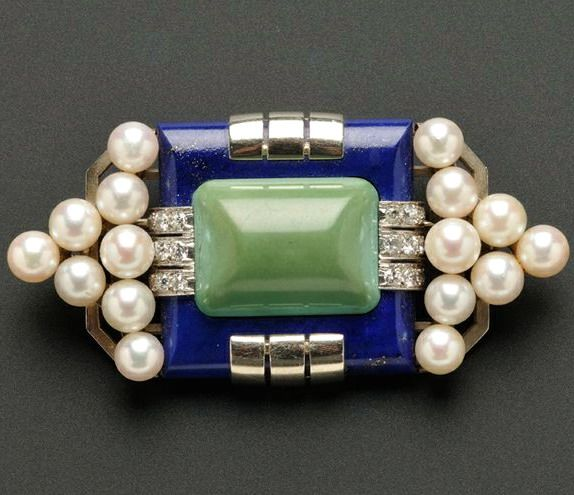 Art Deco Lapis, Turquoise, and Diamond Brooch, Mauboussin, France