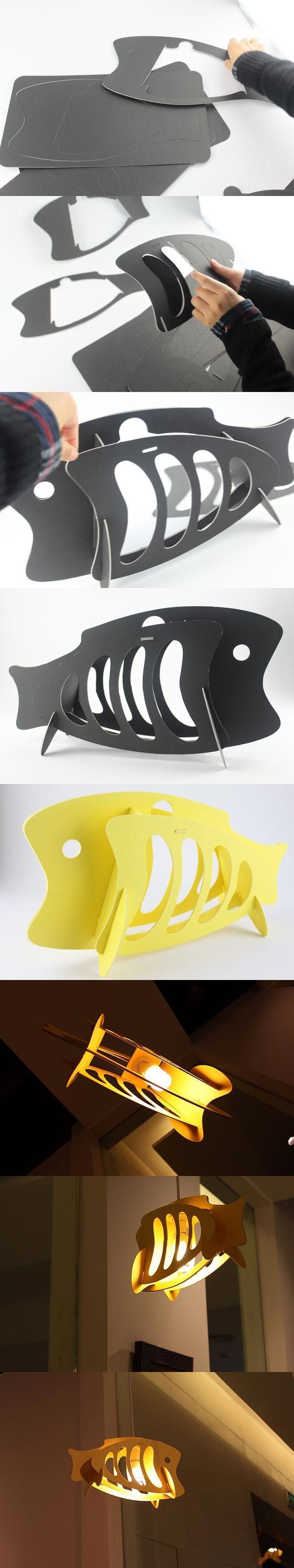 DIY鱼型挂饰灯,挂在家里还是蛮不错哟,