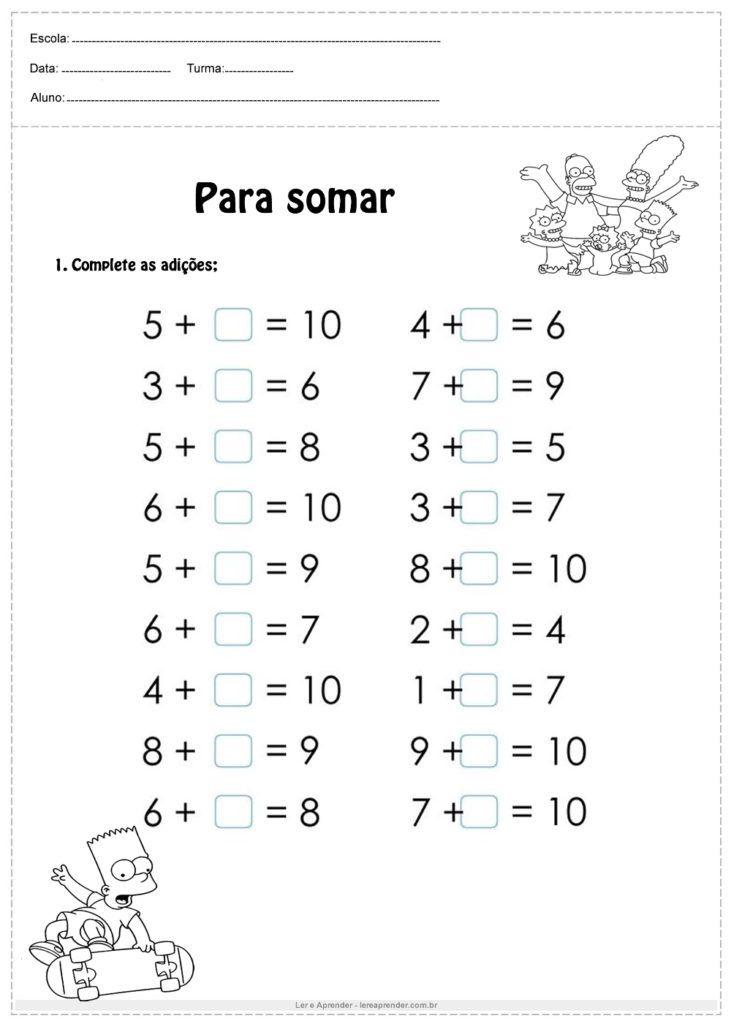Pin Em Atividades De Matematica