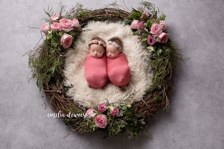 Newborn photography, twin posing, Floral, roses, wreath, twin girls