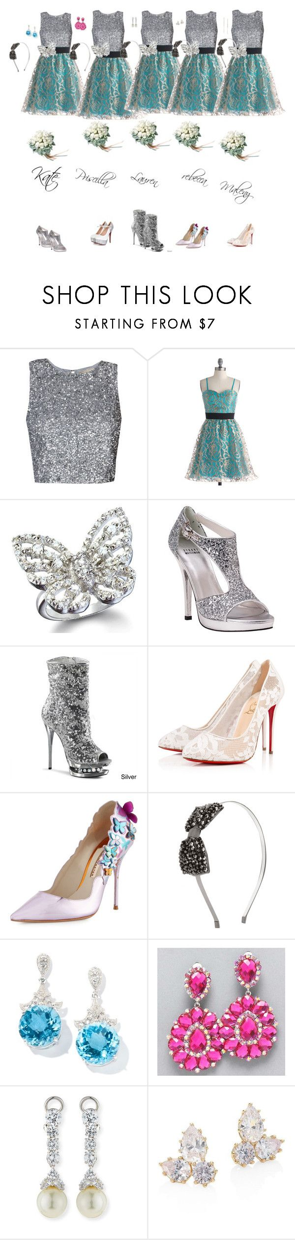 """""""Bridesmaid Isabella and Blake ll"""" by cynthiatorres-ii ❤ liked on Polyvore featuring Fantasy Jewelry Box, Stuart Weitzman, Pleaser, Christian Louboutin, Sophia Webster, Forever 21, Fantasia by DeSerio, Eddie Borgo and ZoÃ« Chicco"""