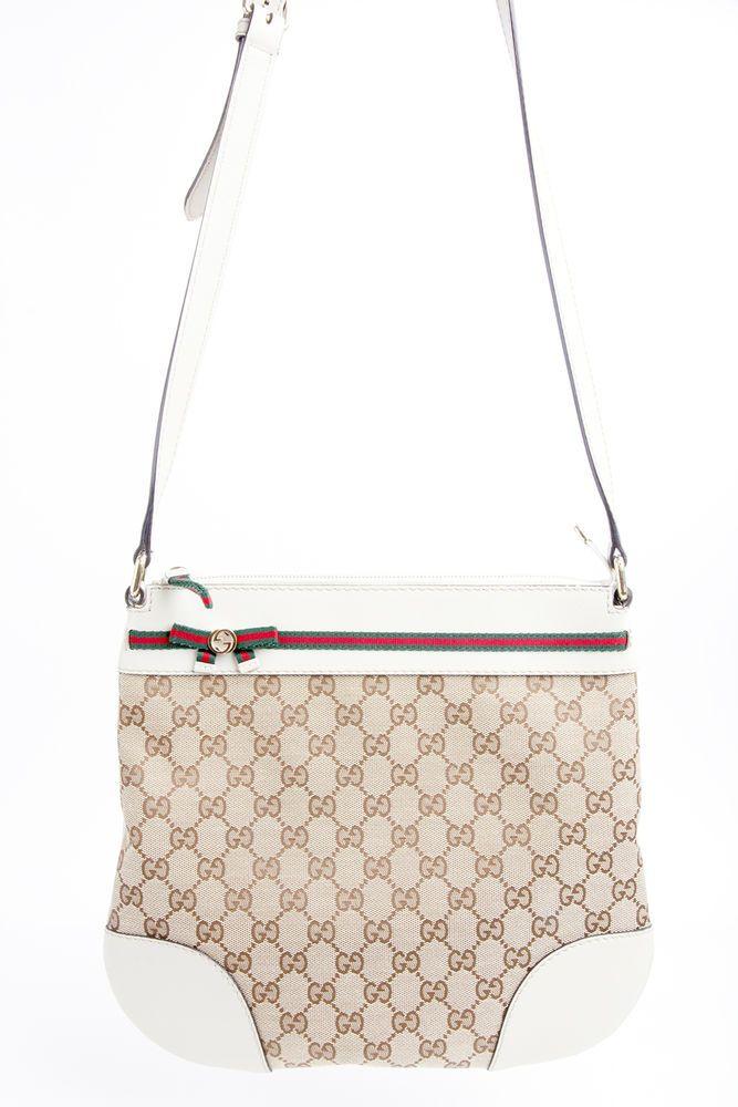 Auth GUCCI 257065 GG Canvas Shoulder Bag Corssbody Messenger Beige Brown #Gucci #MessengerShoulderBag