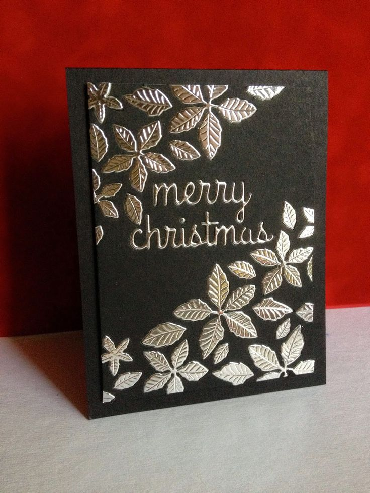 Christmas Card Making Ideas 2014 Part - 41: Embossed Silver On Black Christmas Card - Bjl