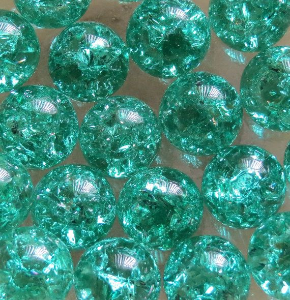 "Twenty(20) 9/16"" 14mm Teal Green Marbles, Fried Marbles, Cracked Marbles, Crackled Marbles, Glass Marbles, Marbels"