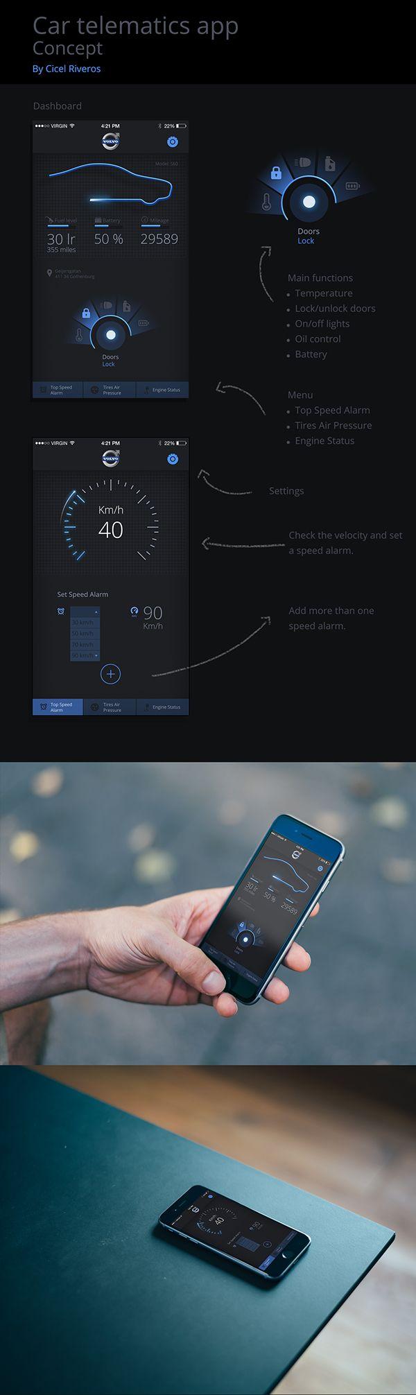 UI car app. on Behance 심플하지만 자동차의 라이트를 닮은 푸른빛이 조화롭게 어울려 정말 자동차 그 자체인것같앗다. 또한 요즘 어플 트렌드와 맞는 디자인이라고 생각했다.