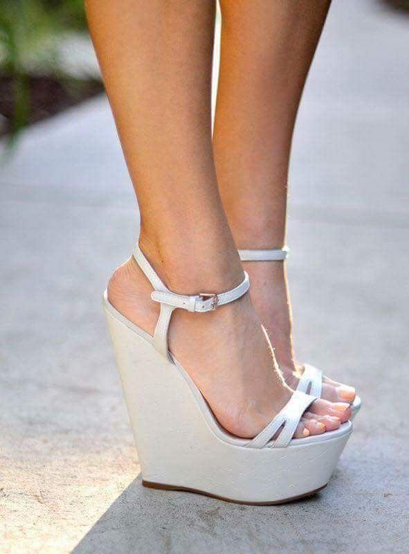 white wedge open toe shoes