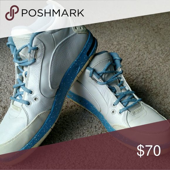 Jordan One Fund Men's size 12 Jordan One Fund White/University Blue shoes. Always worn with forcefield crease preventers. Slight yellowing on heel-area plastic surfaces from age. 8/10 condition. Jordan Shoes Sneakers