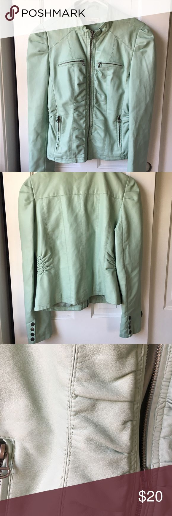 Mint jacket Super cute jacket. Great with jeans and heels or dress down with some flats! Great for spring and summer! Some of the thread is loose but ONLY in the area that I took a picture of. Arden B Jackets & Coats
