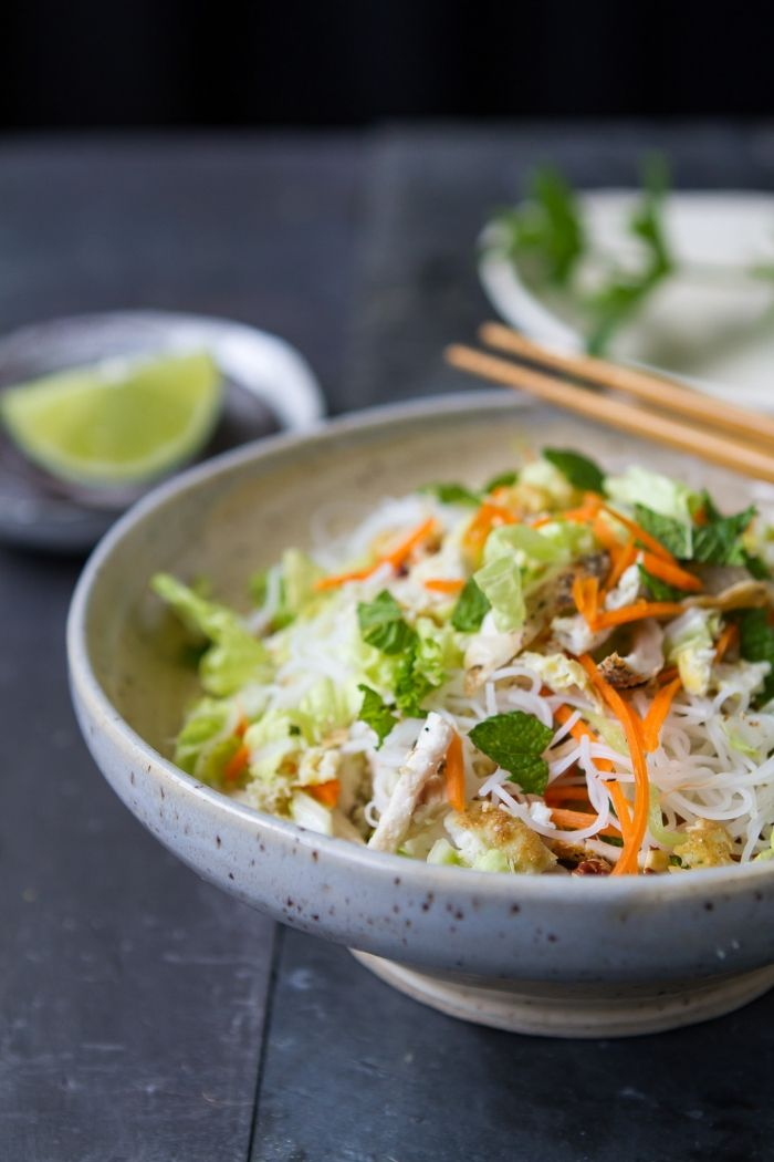 Vietnamese Rice Noodle Salad — playin with my food (carrots, zucchini, napa cabbage, mint, basil)