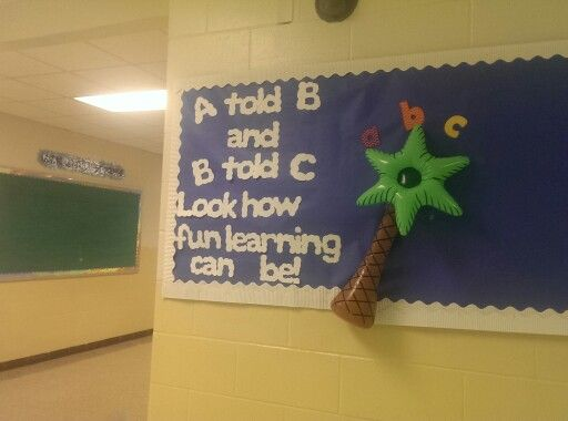 Chicka chicka boom boom bulletin board. On the other side will be pictures of the kiddos working.