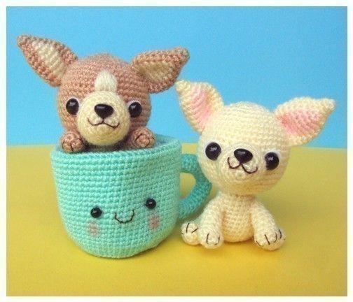 Chihuahua, perrito taza té - patrón de ganchillo PDF