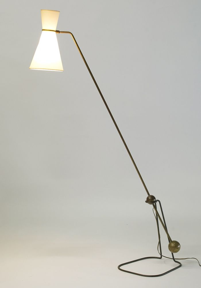 Pierre guariche g2 brass floor lamp for disderot 1950