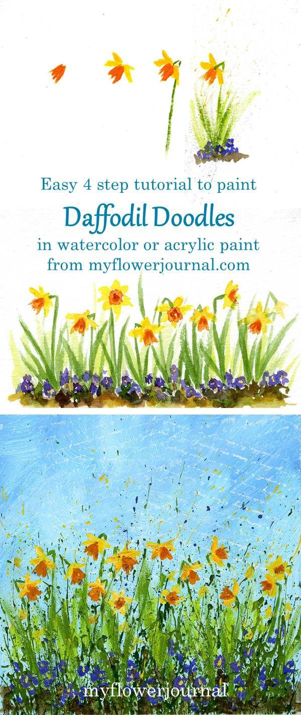 Wow! Check out this easy Daffodil Doodles tutorial from myflowerjournal. You can paint daffodils in 4 easy steps using watercolor or acrylic paint for framed art, cards, journal pages and more.