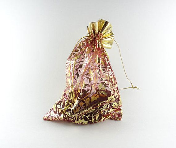Red and gold gift pouch  set of 10 7 pouches by IndianCraftsBazaar