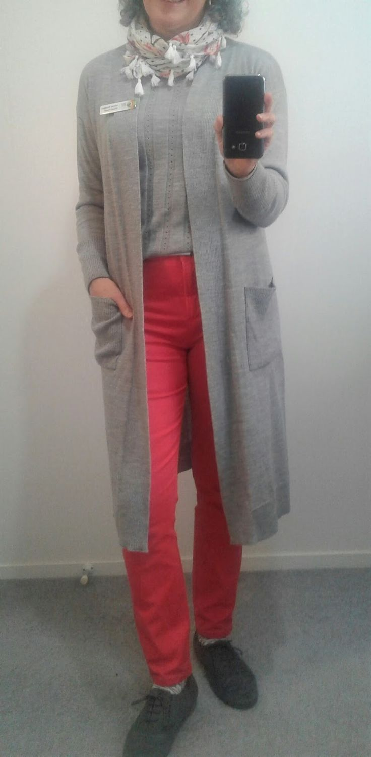 Teacher Outfits~ It's Spring~ yeah right!      I saw this look with red jeans in Pinterest and thought I'd try it with my coral jeans and grey brogues instead of heels. Grey merino top and duster cardi, tulip scarf. #50+, #teacher style