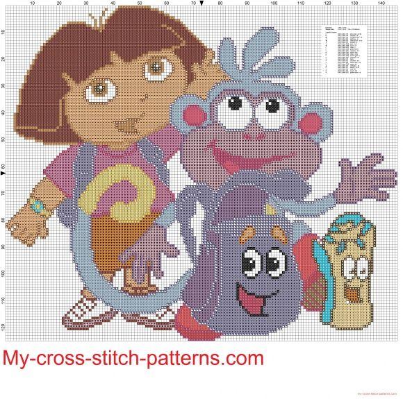 Dora the Explorer with friends cross stitch patterns free