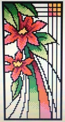 Art Nouveau Lily - 56w x 112h. Pattern $5.00, Kit $19.80. Shannon's Patterns Kits - Counted Cross Stitch - Stonewall, Manitoba
