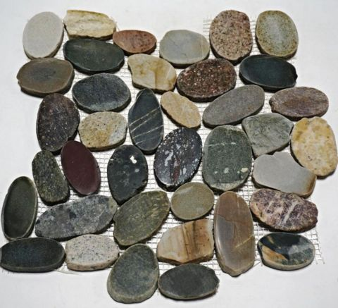Designer Amazon 12x12 Natural Flat Pebble Tile Mosaic (Please Call For  Shipping)