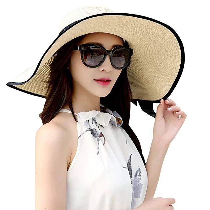 JOYEBUY Women/'s Floppy Big Brim Hat Bowknot Straw Hat Foldable Roll up Beachwear