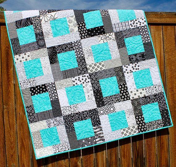 Modern Baby Blanket Baby Boy Quilt Geometric Blanket Crib Blanket Turquoise