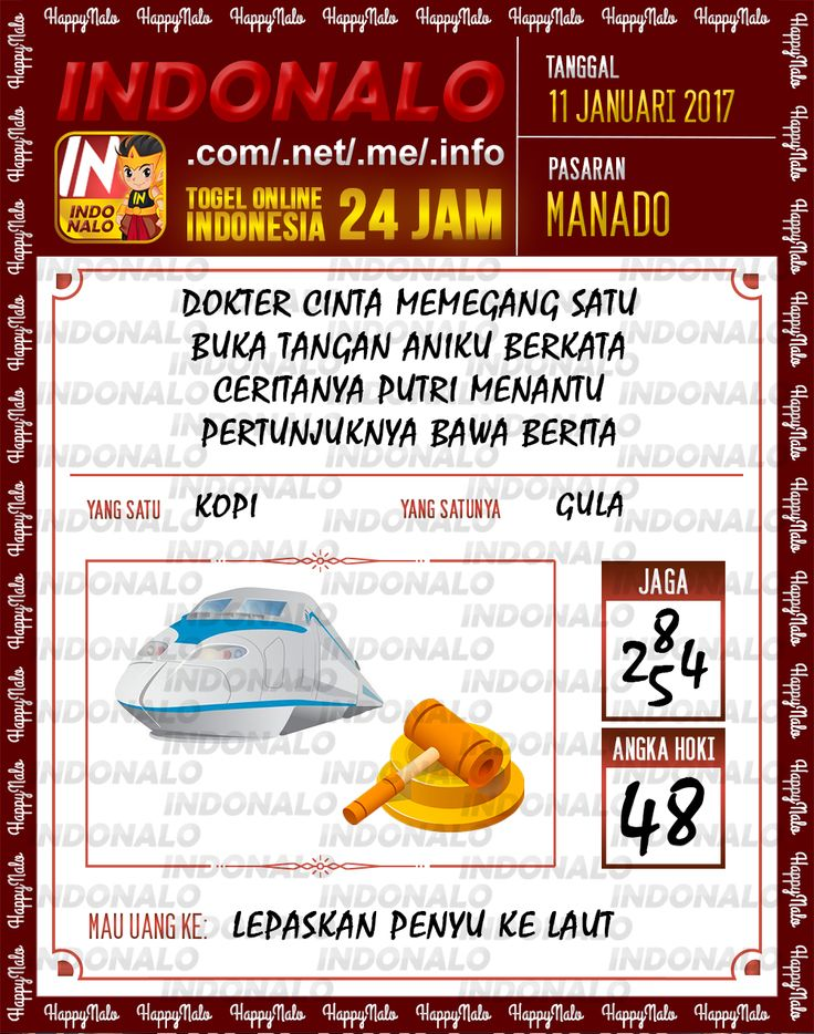Kode Kumat 3D Togel Wap Online Live Draw 4D Indonalo Manado 11 Januari 2017