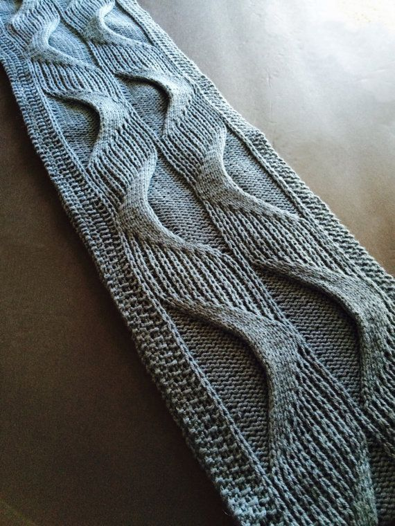 Knitting Pattern for Underlying Structures Long Cowl - #ad Cables and slipped stitches combine to form wavy helix-like motifs that give both visual movement, and dimensional texture. tba shaped scarf