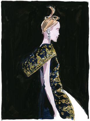 Jean-Phillipe Delhomme.  Illustration of a McQueen creation.