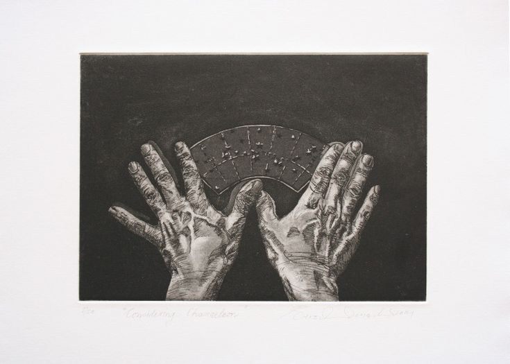 "Rust-en-Vrede Gallery – ART EXCHANGE: MEXICO - Participating Artist Berco Wilsenach ""Considering Chameleon"" Etching with Mezzotint"