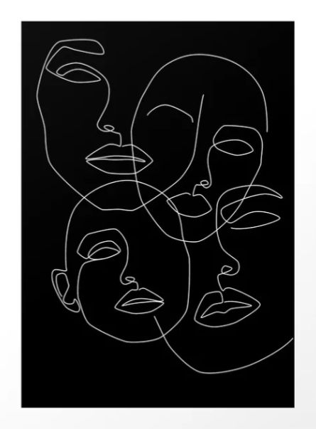 """In the dark"" von Explicit Design #minimalist # single-line # one-line-drawing #masks #faces"